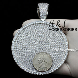 MEN 14K WHITE GOLD FINISH ICY BLING OVERSIZE HEAVY SILVER ROUND PENDANT*ABP11