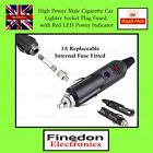 1x 12v Male Car Cigarette Lighter Socket Plug Connector With Fuse & Red Led