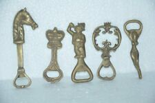 5 Pc Brass Handcrafted Horse,Lady,Man & Crown Figurine Cork Openers