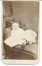 1860's Carte de Visite Baby on Couch Reading Pa.