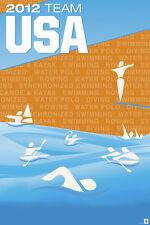 POSTER London 2012 Olympics Team USA Aquatics