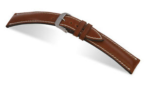 """RIOS1931 Genuine Shell Cordovan Leather Watch Band Strap 19 mm Cognac """"New York"""