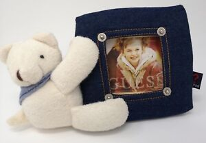 """* Guess ? Photo Frame In Denim Blue with bear plush For 2.5"""" x 2.5"""" Picture (e1)"""