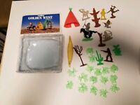 Vintage Golden West Cowboy & Indian Play Set Plastic Figures Lot, Teepee, Canoe