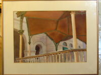 Signed J. Clark Vintage Watercolor Architecture Scene Painting