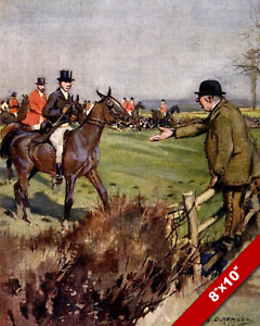 FOX HUNT HUNTSMEN PARTY TRESPASSING ON FARM LAND REAL CANVAS ART PAINTING PRINT