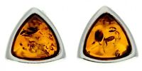 CERTIFIED BALTIC AMBER 925 STERLING SILVER Triangle Stud Earrings GL031
