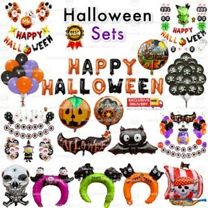 Happy Halloween Foil Balloons Skull Pumpkin Wizard Trick Treat Party Baloons UK