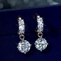18k yellow gold gp made with SWAROVSKI crystal stud huggies earrings dangle 7mm