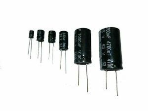 Electrolytic Capacitor Radial 10v 16v 25v 35v 63v 100v mfd Packs 10 25 50 105°C