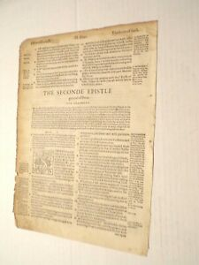 RARE-1562 Geneva-Bible Leaf-The 2nd Epistle of Peter Title Page-1st Folio Ed.!!!