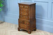Vintage Reprodux Bevan Funnel Small 8 Drawer Flame Grain Mahogany Chest On Chest