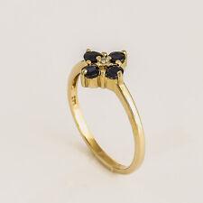 NATURAL SAPPHIRE DIAMOND RING GENUINE 9K GOLD SEPTEMBER BIRTHSTONE SIZE M NEW