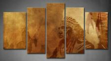Framed Wall Art Native American Chief Worriors Horses Print On Canvas Pictures