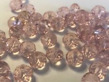 20 Pale Pink Glass Faceted 8mm Rondelle Crystal Beads DIY Craft Jewellery
