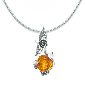 925 Sterling Silver Genuine Baltic Amber Necklace Rose Pendant Free Gift Bag