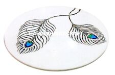 Marble Coffee Peacock Feather Elegant Design Table Top Inlaid Garden Decor M140