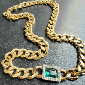 Vintage Inspired Emerald Glass Gold Tone Curb Chain Rhinestone Retro Necklace