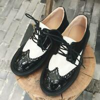 New Brogue Womens Patent Leather Flats Lace Up Carved Shoes College Casual Shoes