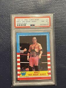 1987 OPC WWF O-Pee-Chee BRET HART Rookie #1 PSA 8 High Grade Hitman RC WWE