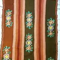 Vintage Floral Crocheted Knit Needlepoint Blanket Afghan Throw 73x43 Repairs