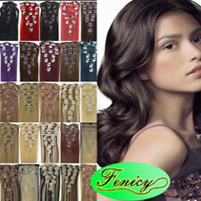 100% Real Human Hair Clip in Remy Hair Extensions 7Pcs Clip on Weft Straight 7A