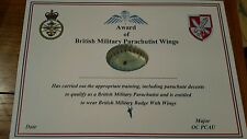 British military parachute wings certificate