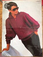 Womens Knitting Patterns.jumpers.size 30-40 inch bust.DK.sirdar.collar.cable.