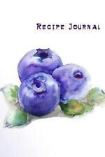Cooking Journals: Recipe Journal : Watercolor Blueberries Cooking Journal,...