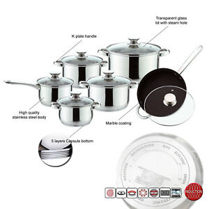 Induction Safe 12pc High Quality Stainless Steel Saucepan Casserole Cookware Set