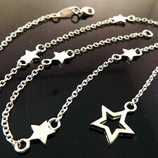 NECKLACE CHAIN REAL 925 STERLING SILVER S/F SOLID SHOOTING STAR PENDANT DESIGN