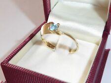 Topacio Azul Piedra Anillo Oro Amarillo 585 14k Gold Compromiso 63-20 mm 500