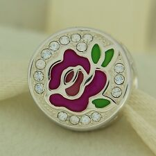 Authentic Chamilia 2025-2218 Enamel Perfect Rose Sterling Silver Bead Charm