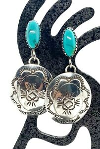 Vintage Navajo Stamped Sterling Silver Turquoise Concho Dangle Earrings