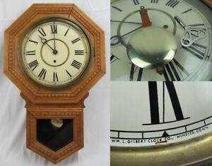 ANTIQUE regulator wall clock carved OAK LARGE FACE WM L Gilbert ADMIRAL 8 day