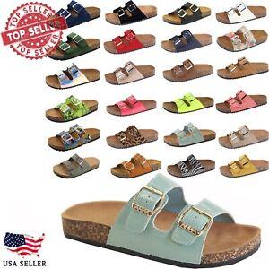 NEW Women's Slide Double Buckle Strap Cork Footbed Slide Flip Flop Shoes Sandals