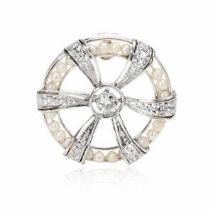 Vintage Diamond & Seed Pearl Brooch in Platinum 0.75 CTW