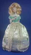 Vintage Porcelain Half Doll Pin Cushion With Dress - Girl Holding Flowers 8""