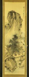 JAPANESE HANGING SCROLL ART Painting Sansui Landscape Yosa Buson  #E6250