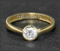 Diamant Brillant 585 Gold Ring Solitär 0,55 ct; Top Wesselton G & Si1, Gelbgold