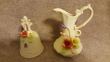 Set of Vintage Bisque Porcelain Bell and Small Pitcher Capodimonte Pottery