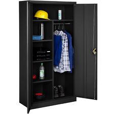 Armoire de rangement metallique placard 2 porte meuble de bureau 180x90x40 noir