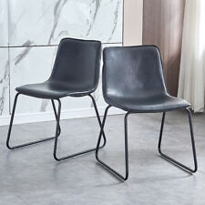 New Listing2 Pcs Dining Chairs Pu Leather retro style Kitchen Living Room Furniture Black