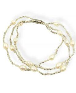 """Artisan Baroque White Pearl Glass Multi Strand Magnetic Bracelet 7.25"""""""