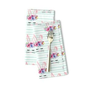 Bunny Face Ice Stripe Spring Cotton Dinner Napkins by Spoonflower Set of 2