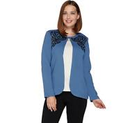 Bob Mackie Embroidered Sequin Ponte Knit Jacket Blue Color Size M