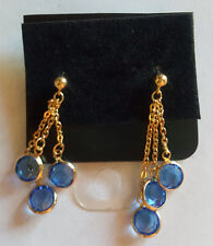 Swarovski Elements 10K Gold Plated Dangle Earrings Blue Stones