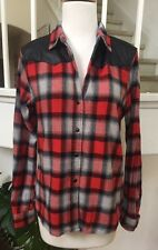 FOREVER 21 Red/Gray/Black Plaid Flannel Shirt w/ Leather Contrast Panel Sz. S