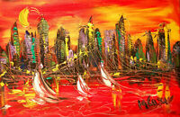 AMERICANA Modern  Original Abstract Painting  SIGNED PALETTE KNIFE   RY4RTH