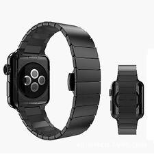 For Apple Watch 5 4 42/44mm Black Stainless Steel Bracelet Butterfly Watch Strap